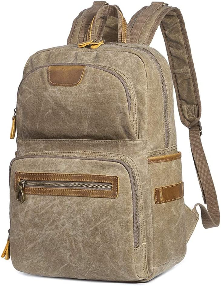 Color : Khaki , Size : Free Size Office College School Bookbag for men Mens Rucksack High Capacity Canvas Backpack Fits 15 Inch Laptop Handbag For Daily Life Travel for Students or Travel