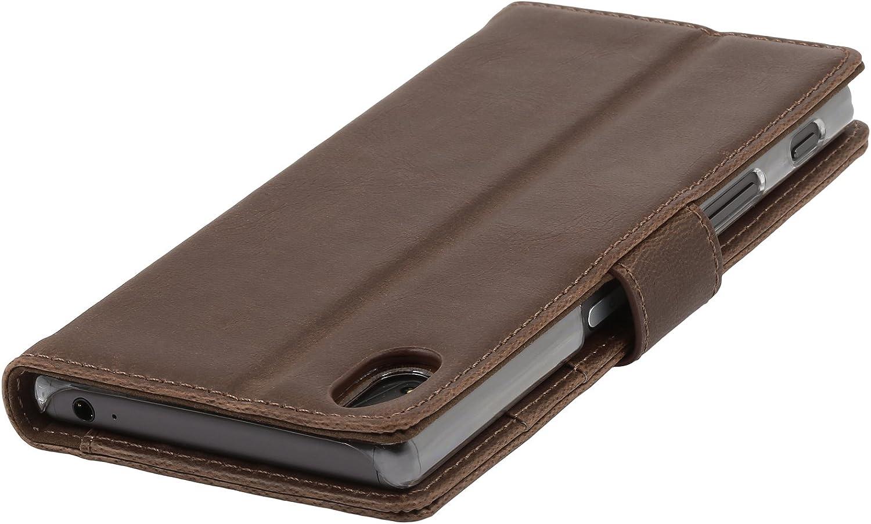 en Cognac Vintage STILGUT Housse pour Sony Xperia Z5 Porte-Cartes en Cuir v/éritable et avec Fonction Support