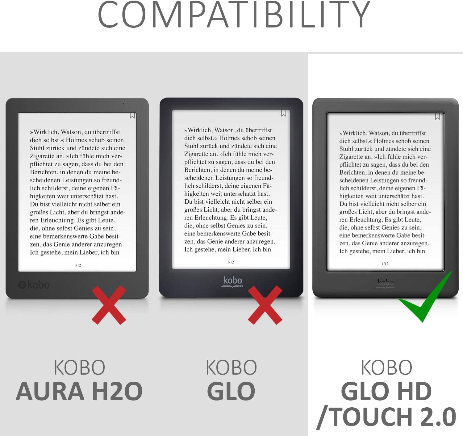 kwmobile Case Compatible with Kobo Glo HD//Touch 2.0 Magical Library Multicolor PU e-Reader Cover