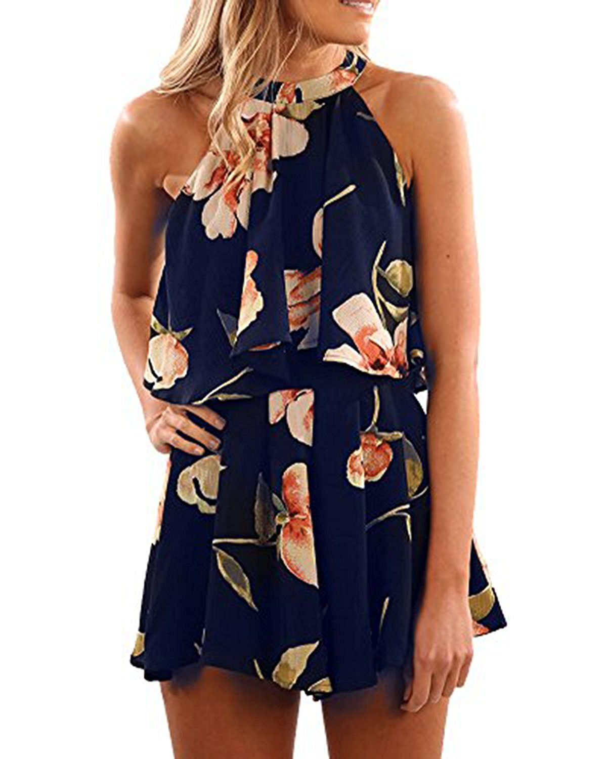 SySea Womens Floral Print Halter Neck Sleeveless Casual Boho Overlay One Piece Rompers Jumpsuits