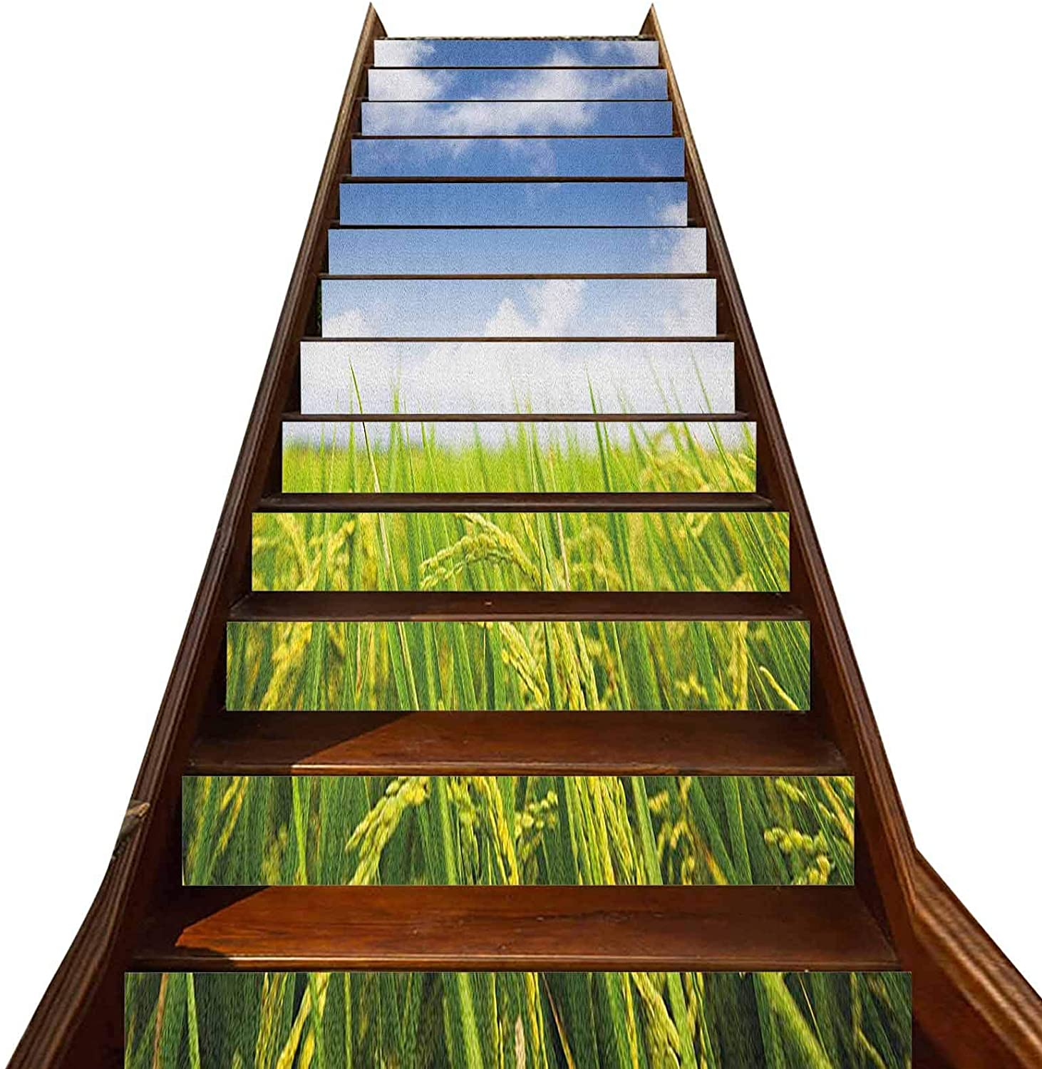 LCGGDB 3D Plant Pattern Stair Stickers 13 PCS,Cultivated Farm Paddy Rice Field Agriculture Food Countryside Vinyl Self-Adhesive Stair Risers Stickers,for Hotel Home Staircase Riser Decor