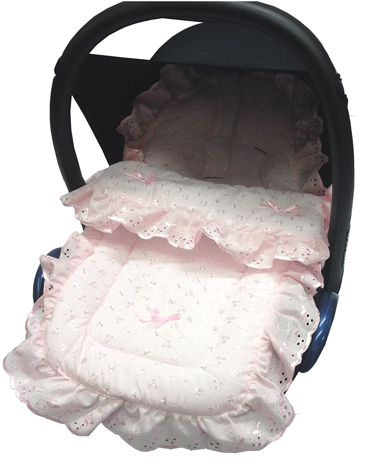 Broderie Anglaise Car Seat Footmuff/Cosy Toes Compatible with Maxi COSI Cabrio/Pebble Pink For-Your-Little-One