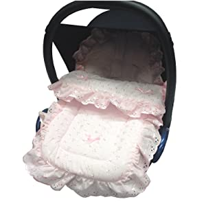 Broderie Anglaise Car Seat Footmuff / Cosy Toes Compatible with Silver Cross Pink