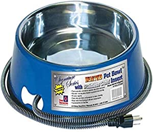 Farm Innovators Heated Pet Bowl with Stainless Steel Bowl Insert, Blue