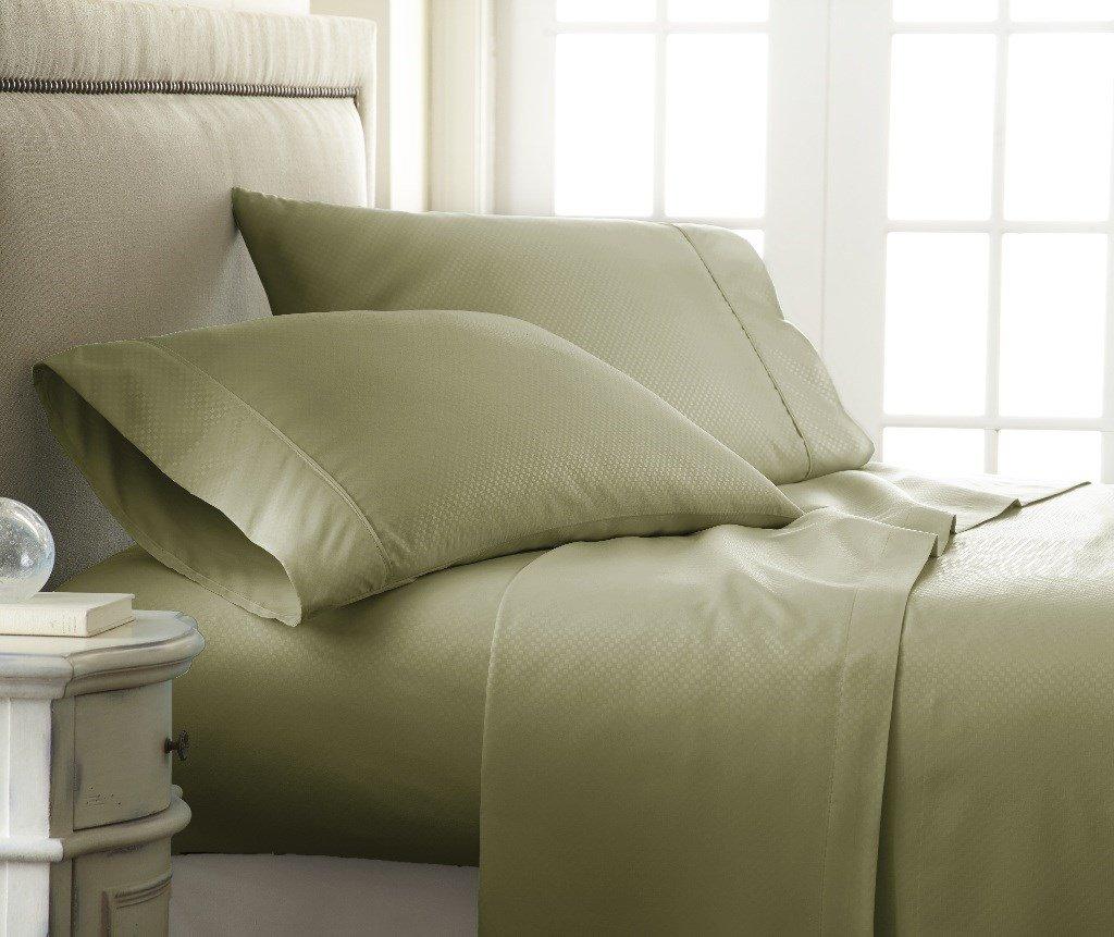 Soft Essentials Premium Embossed Checker Design 4 Piece Bed Sheet Set (Queen - Sage)(Pack of 12)