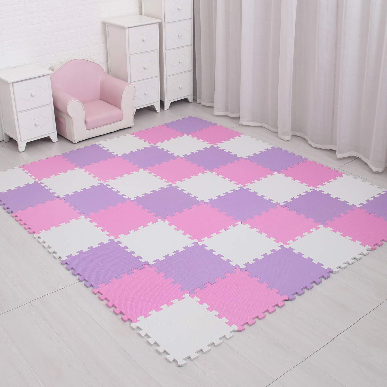 MQIAOHAM Soft EVA Kidz Interlocking Jigsaw Play Mat Set Foam Baby Tiles Floor Mats for Children Multicoloured Activity Puzzle jigsaws Indoor and Outdoor Colourful White Pink Purple 101103111
