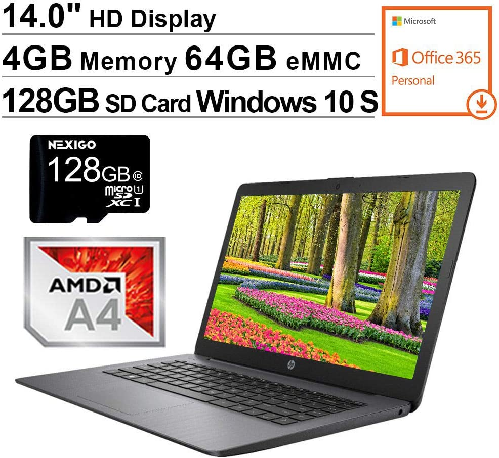 2020 Newest HP Stream 14 Inch Non-Touch Laptop, AMD A4-9120e up to 2.5 GHz, 4GB RAM, 64GB eMMC, Windows 10 S (1 Year Office 365 Personal Included), Black + NexiGo 128GB MicroSD Card Bundle