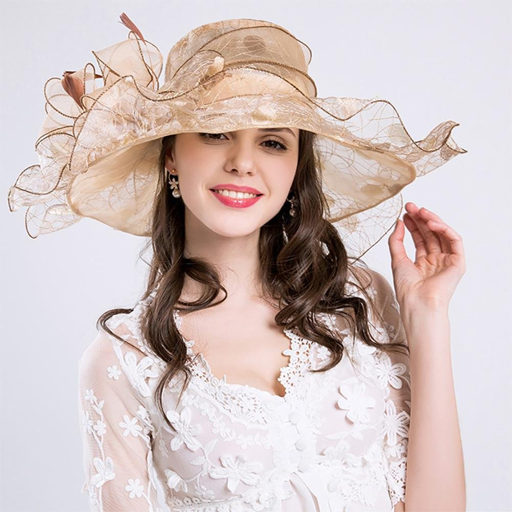 AOLVO Donna Organza Church Derby Fascinator Cappello Kentucky Tea Party Wedding cap UPF 50/ Oversize Floppy Pieghevole Sun Cappello a Tesa Larga Pois Piuma Fancy Beach cap,2018/ Estate Nuovo Gold