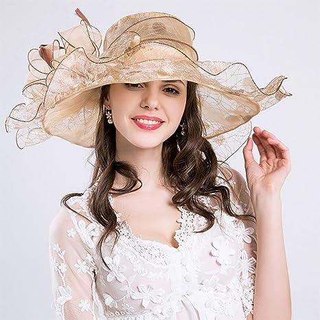 AOLVO Donna Organza Church Derby Fascinator Cappello Kentucky Tea Party  Wedding cap UPF 50 Oversize Floppy 4da6f42bbf84