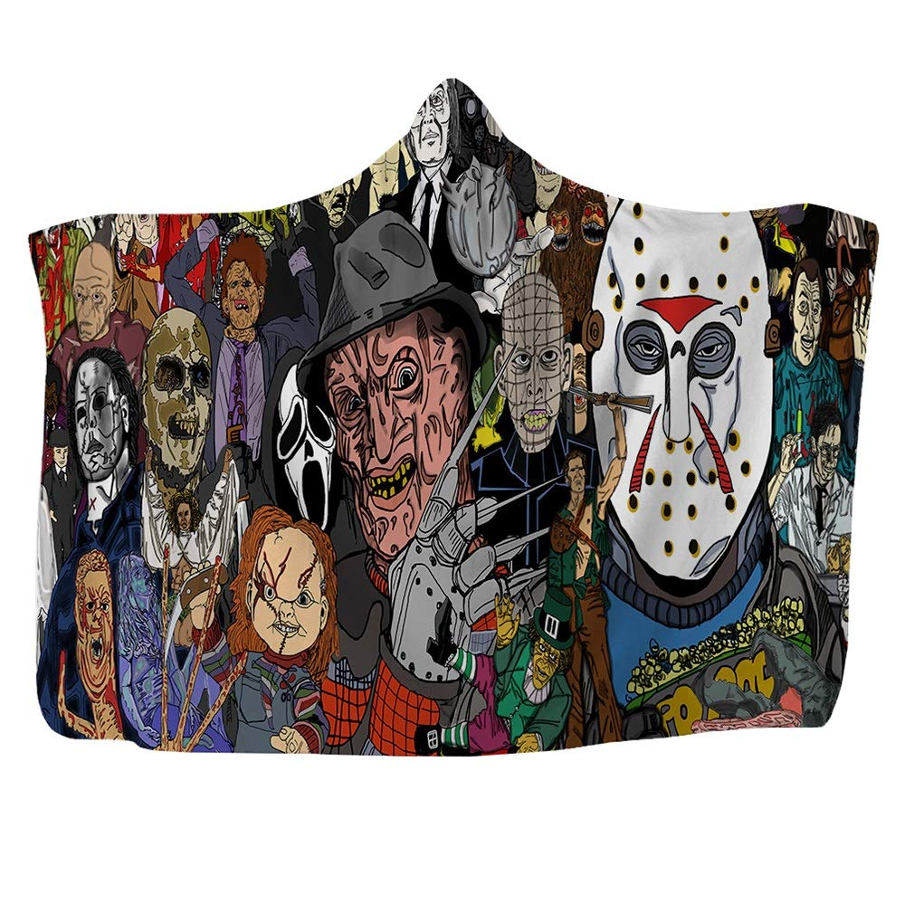 LJFYXZ Hooded Blanket Horror Movie Printed Blanket Magic Cloak Thickened Double-Layered Plush Children and Adults Nap Blanket (Color : C, Size : 150x200cm) by LJFYXZ-ditan
