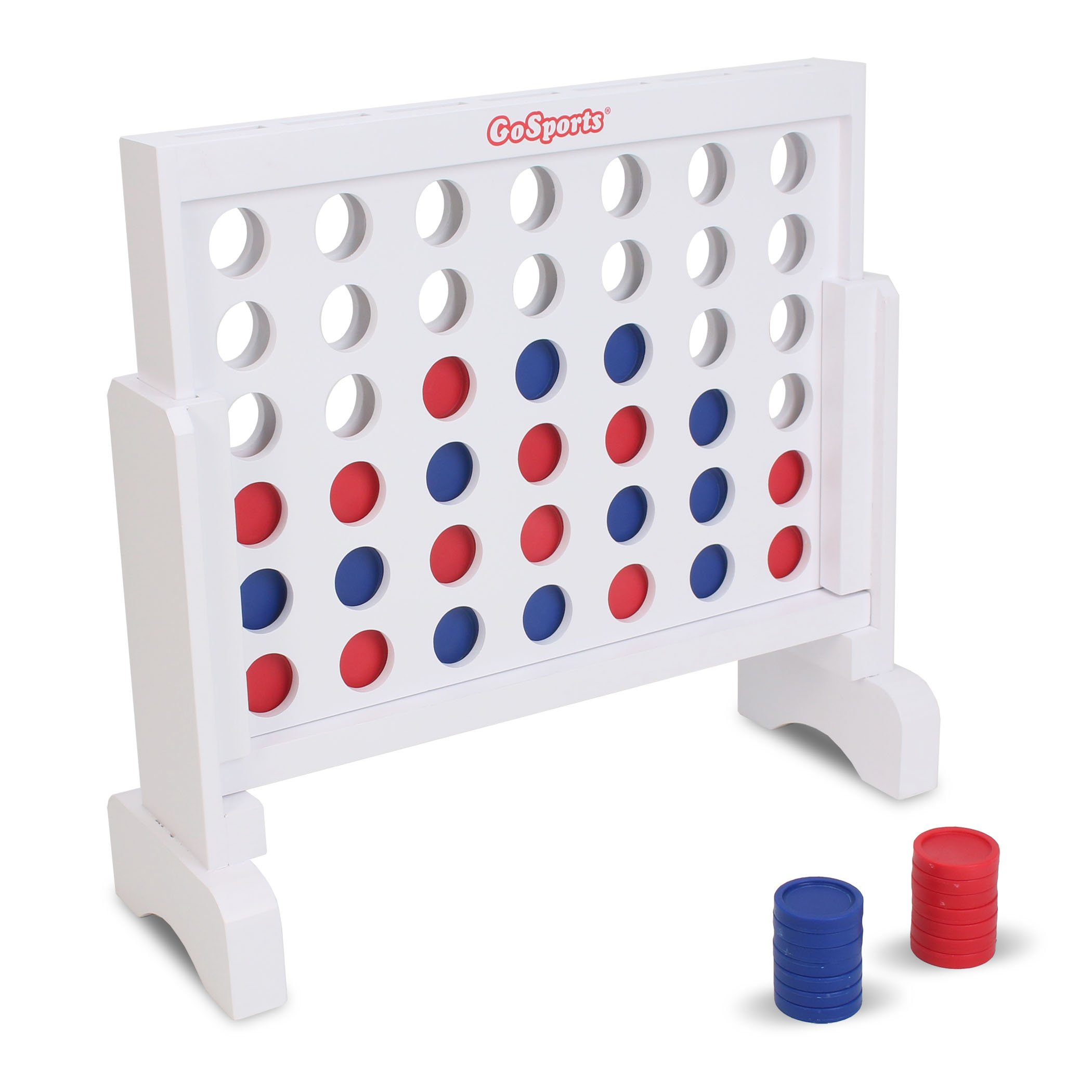 GoSports Premium Wooden 4 in a Row Game - 1 foot Width - With Coins, Portable Case and Rules