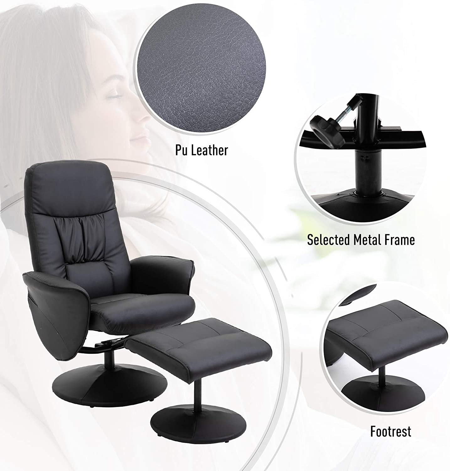 HOMCOM Executive Recliner Chair High Back and Footstool Armchair Lounge Seat Brown Black
