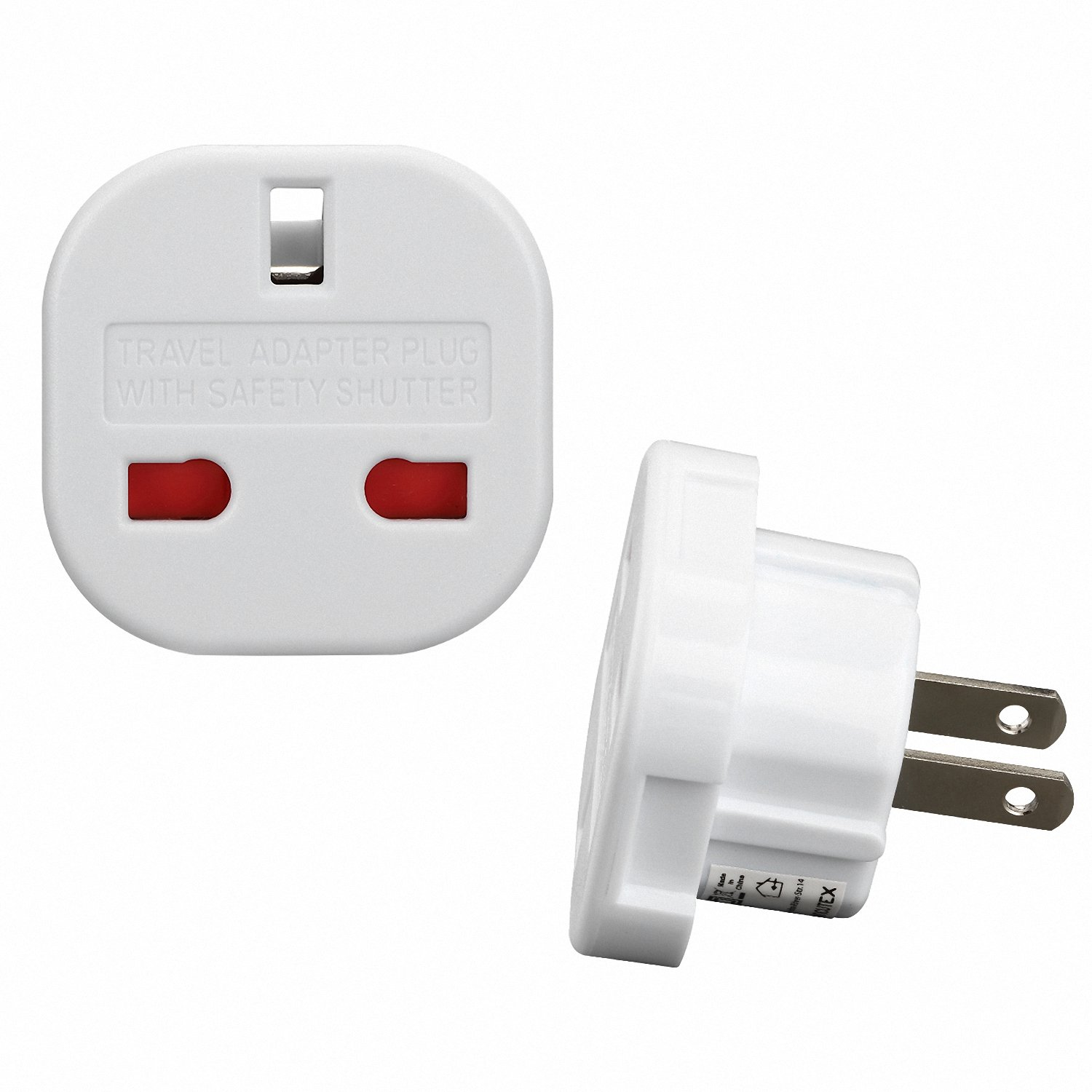 Incutex 1x Adaptador de Viaje UK a EU Adaptador UK a Españ a Enchufe inglé s de 3 Polos a 2 Polos, Bianco