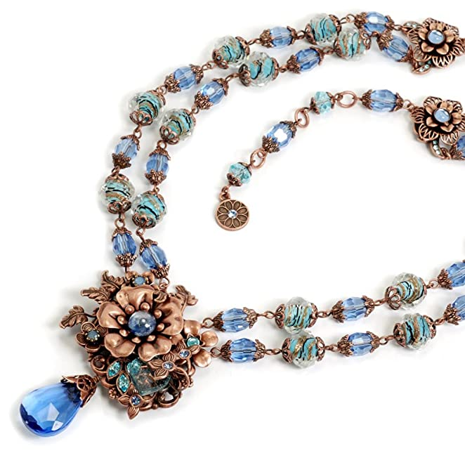 1950s Costume Jewelry 1950s Retro Blues Necklace $159.00 AT vintagedancer.com