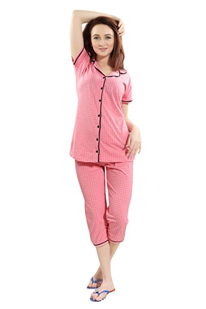 a90c1a849e Kayimi Women's Premium Cotton Printed Front Open Flannel Top & Capri Night  Suit: Amazon.in: Clothing & Accessories