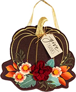 Evergreen Flag Beautiful Give Thanks Floral Pumpkin Hanging Door Décor - 17 x 1 x 19 Inches Fade and Weather Resistant Outdoor Decoration for Homes, Yards and Gardens