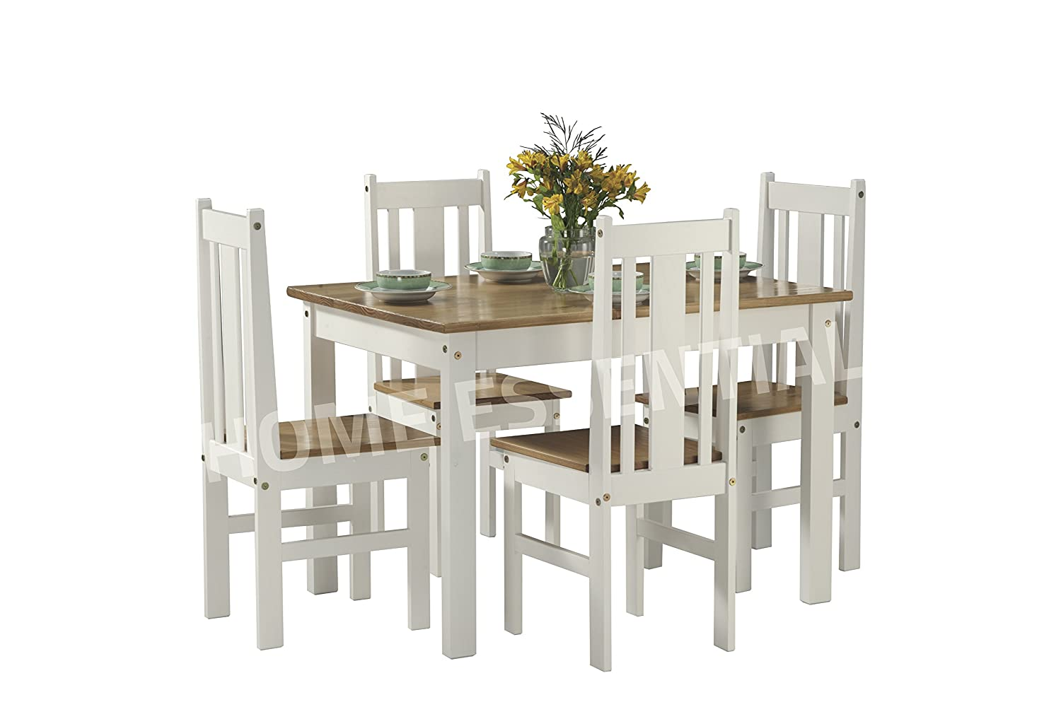Home Essentials Inc Ellingham 4 Seater Oak and White Dining Set