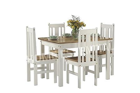 Ellingham 4 Seater Oak And White Dining Set