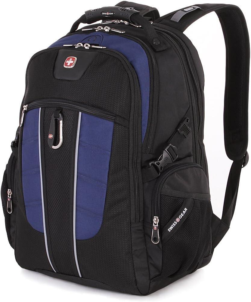 SWISSGEAR 1753 ScanSmart Laptop Backpack. Abrasion-Resistant Travel-Friendly Laptop Backpack Black Navy