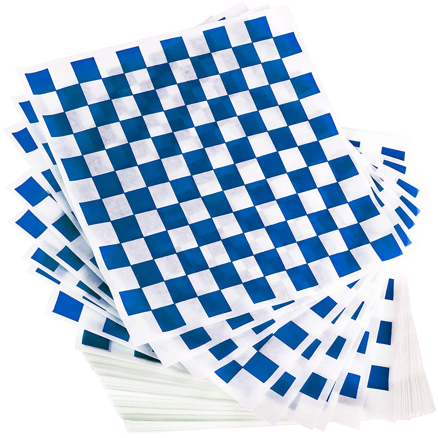 12x12 Grease Resistant Sheet, Blue Checkered, Basket Liner, Wrap, 1000 Sheets Per Box, Brown Paper Goods 7B12-BL