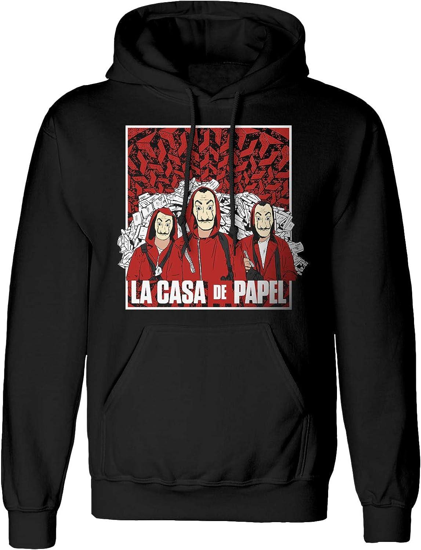Merchandise Officiel La CASA De Papel Money Heist Group Sketch Pull /à Capuche pour Homme/