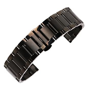 autulet 20mm Mens Metal SS Watch Band Brushed Back Deluxe 304 Inox Steel Watch Belt for