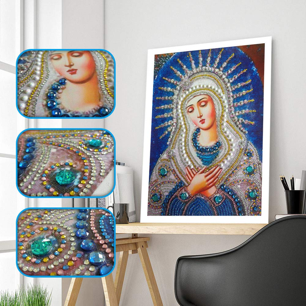 Special Shaped Diamond Painting Madonna - Franterd DIY 5D Partial Drill Cross Stitch Kits Crystal Rhinestone of Picture Diamond Embroidery Mosaic Arts Craft Home Wall Decor by Franterd Home Decor (Image #9)