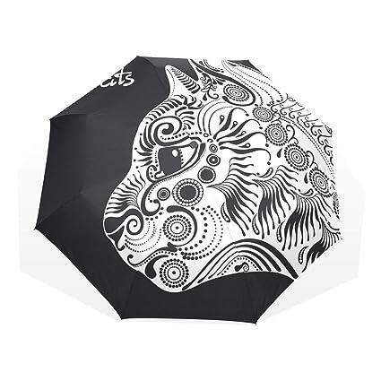 EZIOLY Paraguas de Viaje Decorativo para Gatos con diseño de Gato Blanco, Ligero, Anti