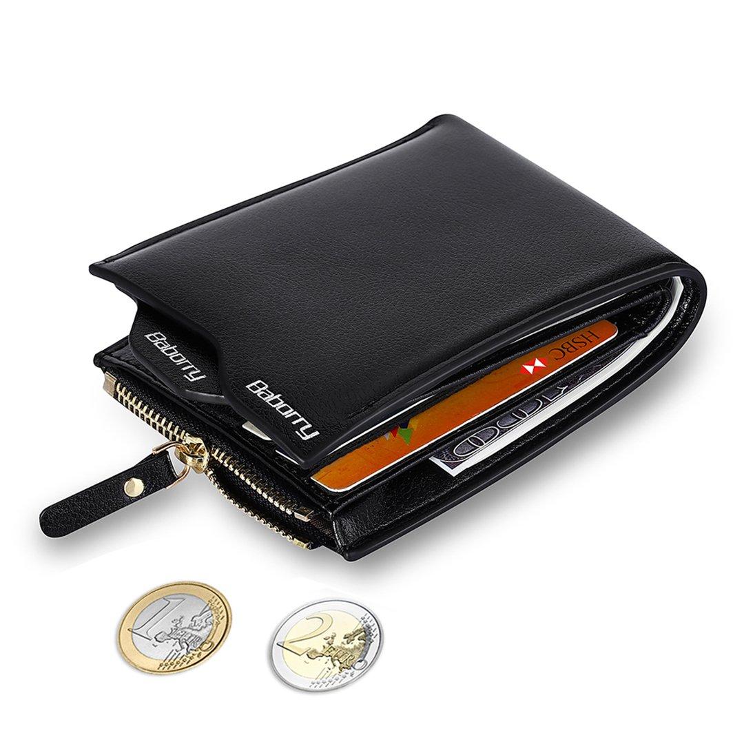 MPTECK @ Negro Cartera Bloqueo RFID para hombre Estilo plegable Monedero Billetera