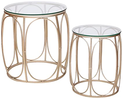 Joveco Golden Modern Designed Accent Metal Nesting Round Drum End Table  With Glass Top, Set