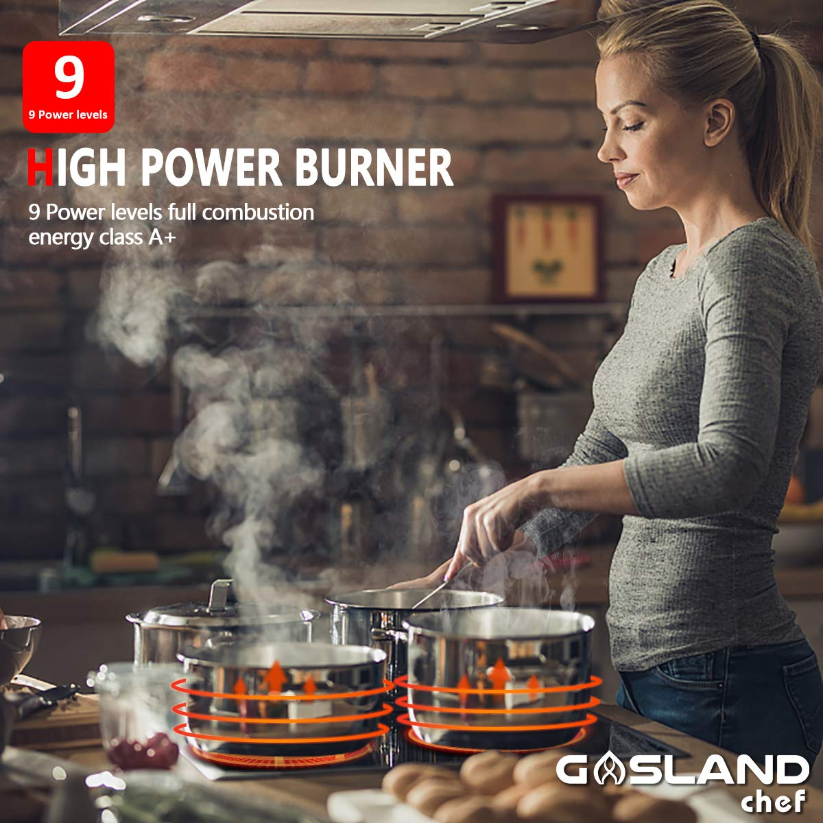 Induction Cooktop Kids Safety Lock Easy To Clean 30 Electric Stove With 4 Burners Gasland chef IH77BF Built-in Induction Cooker 9 Heating Level Settings Vitro Ceramic Surface Electric Cooktop