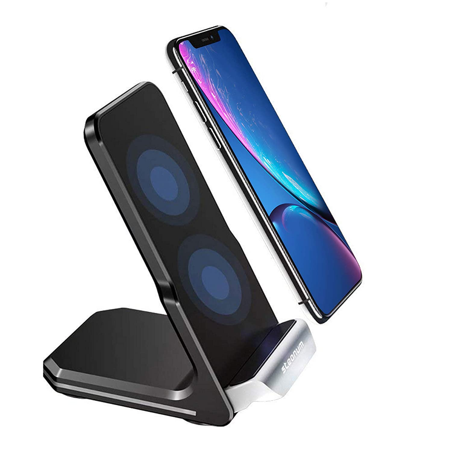 Wireless Charger, Steanum Qi Fast Wireless Charger Stand, 10W Dual Coil Intelligent Induction Charger Charging Holder for iPhone Xs Max / Xs / Xr / X / 8/8 Plus, Galaxy Note 5/8/9, S9 / S9 + / S8 / S8 + / S7 / S7edge / S6 Edge +&Other Qi-Enabled Devices