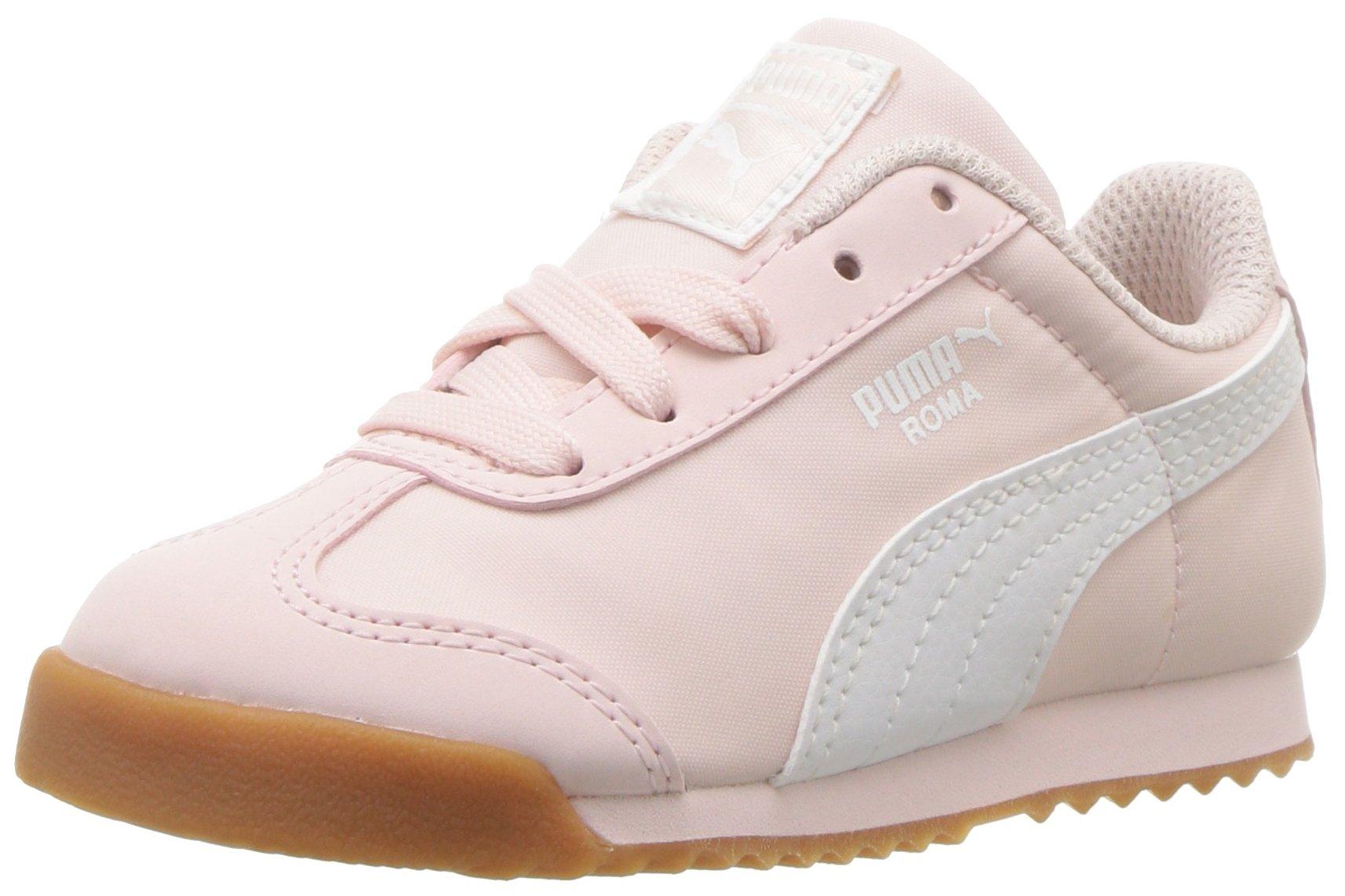 PUMA Unisex-Kids Roma Basic Summer Sneaker, Pearl White, 4 M US Big Kid