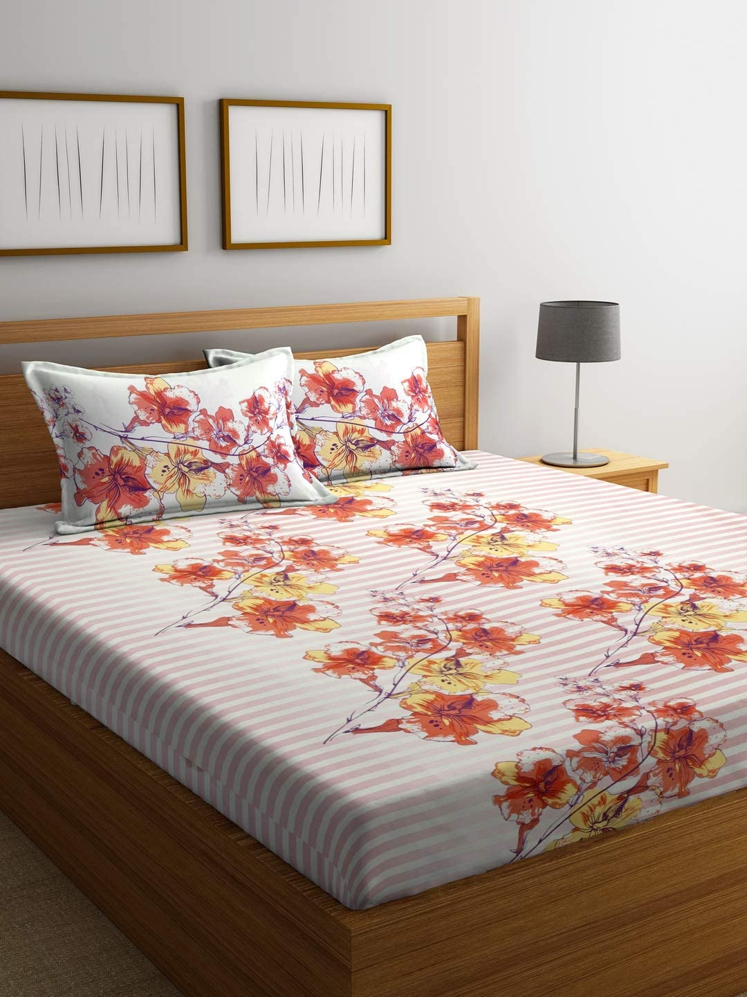 Bombay Dyeing 130 TC Polyester and Cotton Double Bedsheet with 2 Pillow Covers - Folige, Orange
