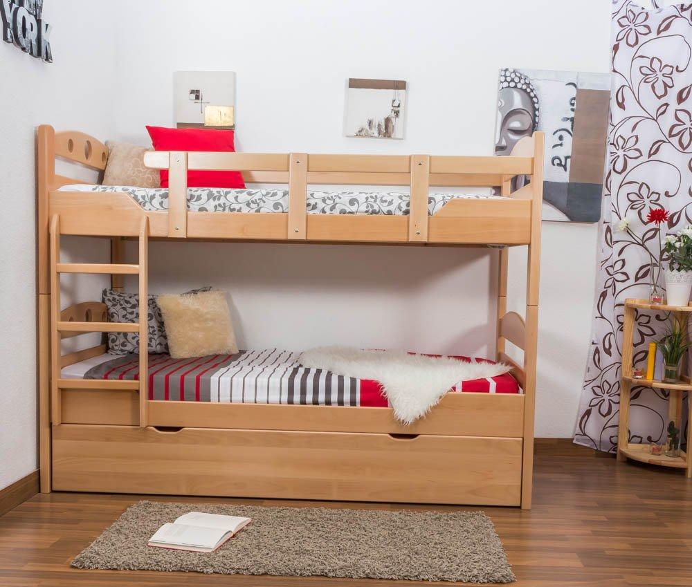 Stockbett mit Bettkasten Easy Sleep K10/h inkl. Liegeplatz und 2 Abdeckblenden, Kopfteil mit Löchern, Buche Vollholz massiv Natur - Maße: 90 x 200 cm, teilbar
