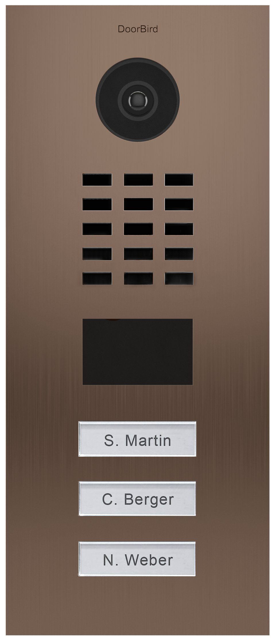 DoorBird IP Video Door Station Flush-mounted, Brushed Stainless Steel Call buttons Multi Tenants - Access Control- POE Capable (Bronze Stainless Steel / 3 Call Buttons)