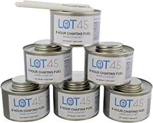 Lot45 6 Hour Cooking Fuel Wick Chafing Dish Fuel Cans for Food, Burners for Chafing Dishes, 6-Pack and Free Lid Opener