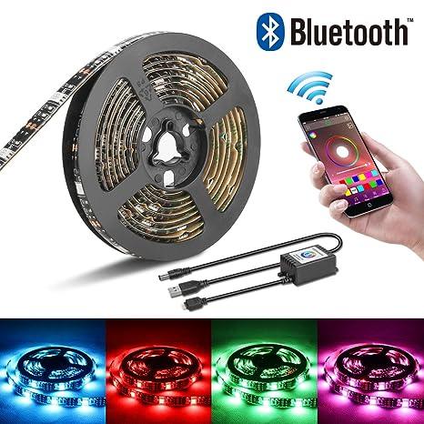 Tira de luces LED, USB, LED, luz de fondo, Bluetooth, para smartphones y aplicaciones, funciona con sistema Android e iOS, 2 m de luz LED RGB para kit de ...