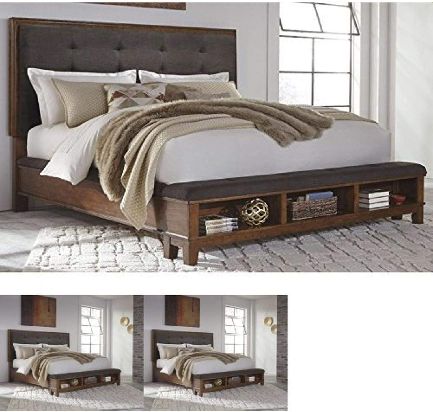 Ashley Furniture Signature Design - Ralene Master Bedroom Upholstered Panel Bedset with Storage - King Size - Medium Brown