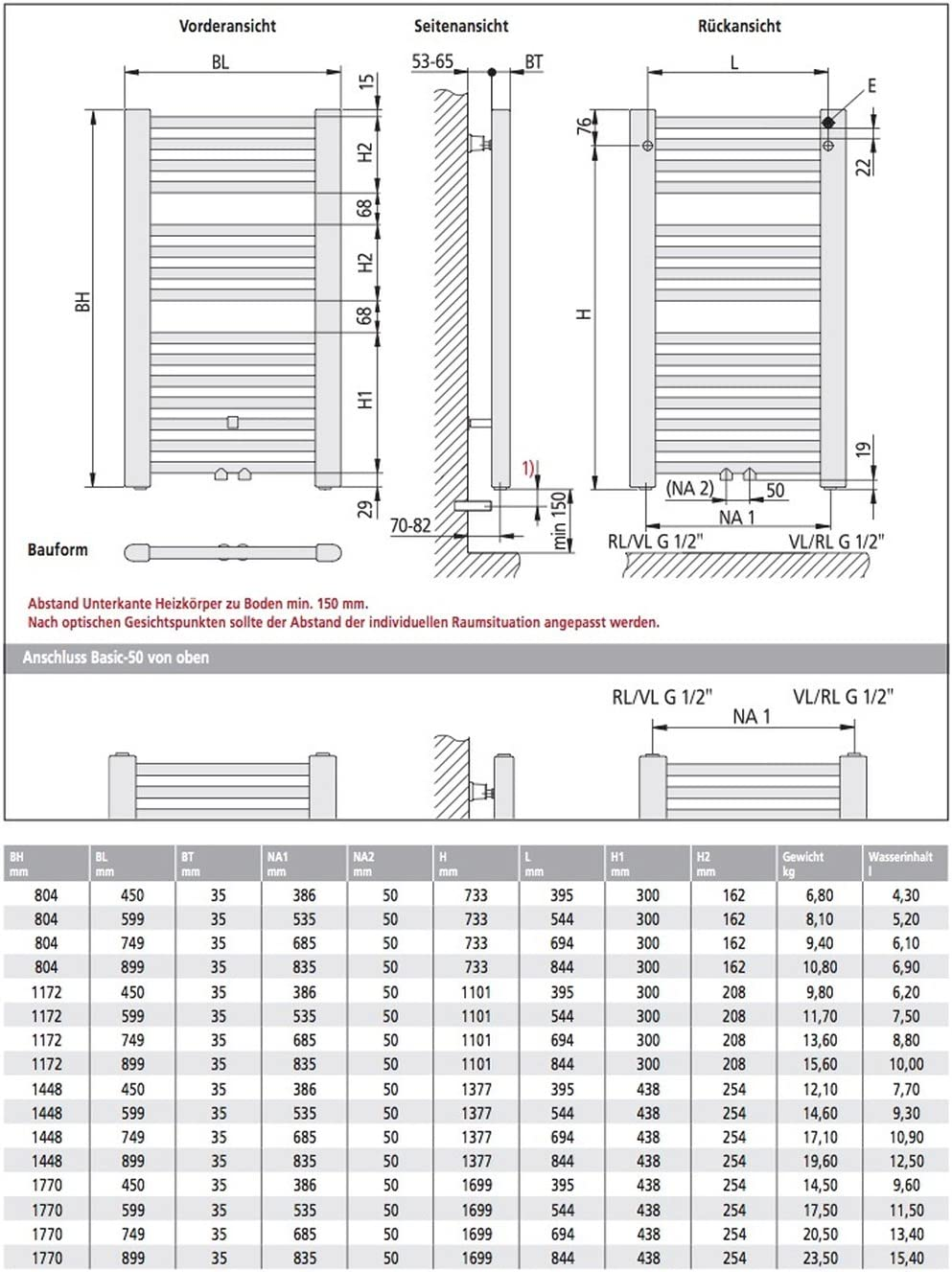Kermi Basic-50 Badheizk/örper 45 x 80 cm E001M0800452XX wei/ß RAL 9016