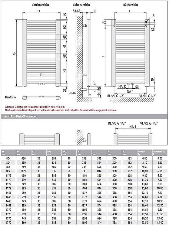Relativ Kermi Basic-50 Badheizkörper 60 x 180 cm, weiß RAL 9016 QE43