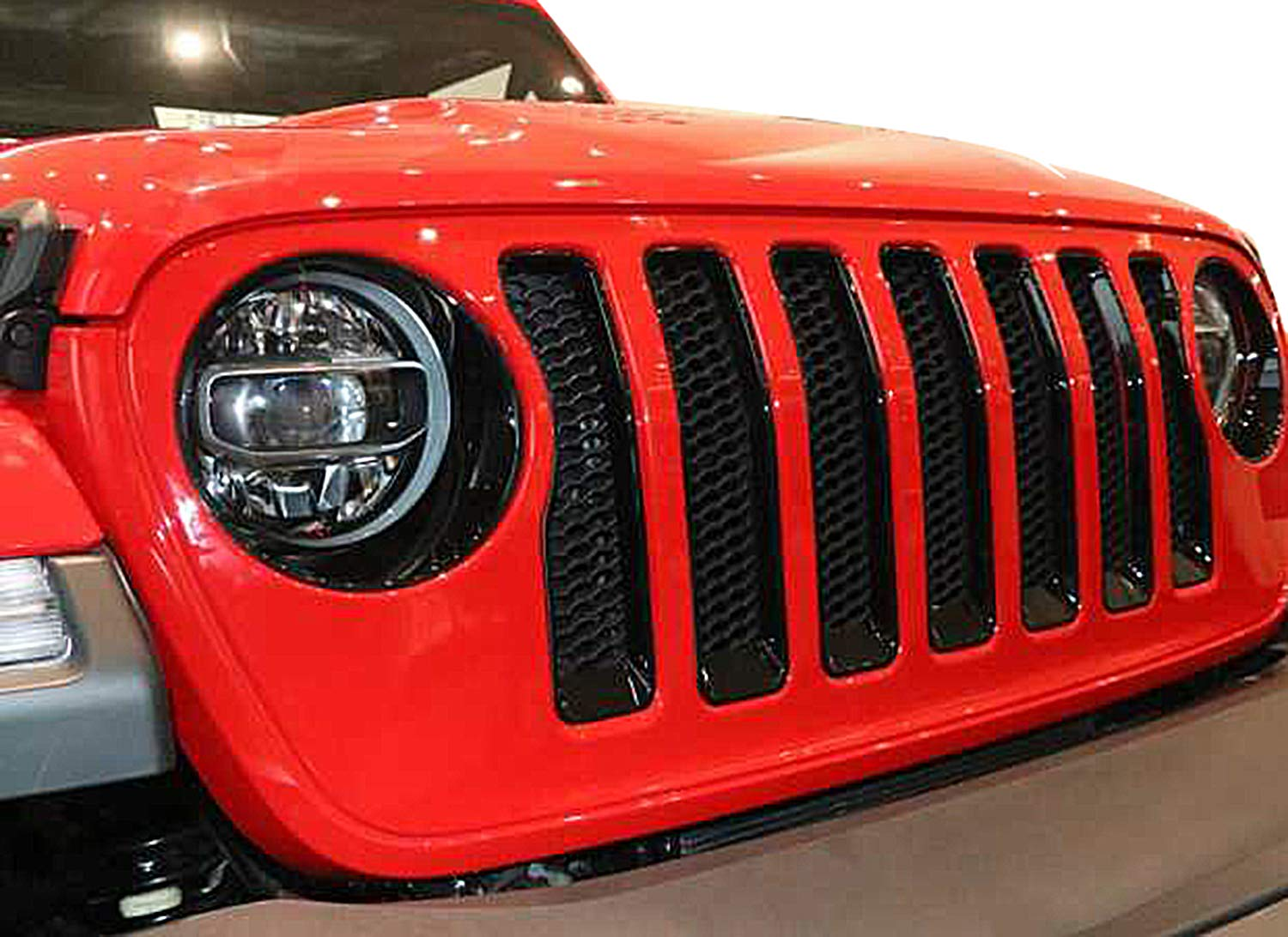 7PCS CT-JL Grille Inserts Red ,Free Get 1 Pair Jeep Headlights Cover for Wrangler JL cartaoo Front Grille Inserts Compatible with 2018 Jeep Wrangler JL-