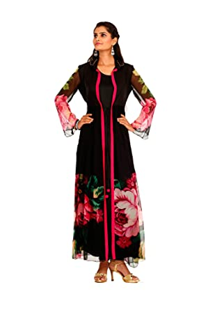cd298161d5 Bawree Women's Party Wear Chiffon Kurti [67724_Black_Large]: Amazon.in:  Clothing & Accessories