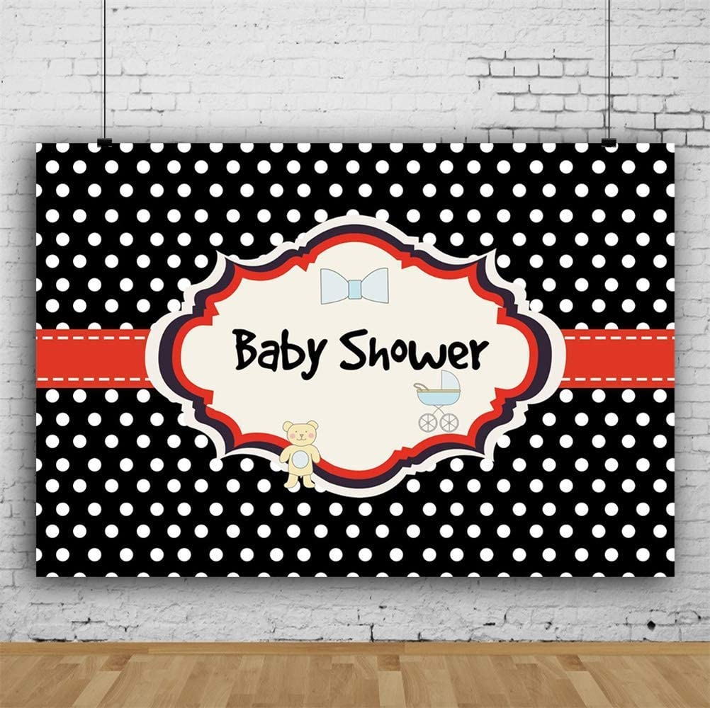 Cartoon Baby Shower Backdrop Cute Bear Baby Carriage Bowknot White Polka Dots Black Background 10x6.5ft Polyester Phography Backdrops Gender Reveal Party Banner Photo Studio Props