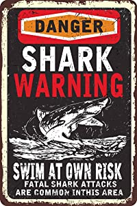Vintage Metal Sign - Shark Warning Swim at Own Risk - Seaside Warning Metal Sign for Outdoor Wall Decor 8x12 Inch