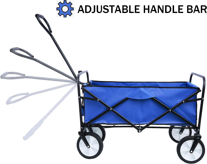 Fitneo 1512 Folding Wagon Garden Shopping Beach Cart, Blue