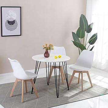 HJ WeDoo Tavolo da Pranzo Moderno di Design Rotondo Piano in ABS Bianco Ø  80 con Gambe a forcina