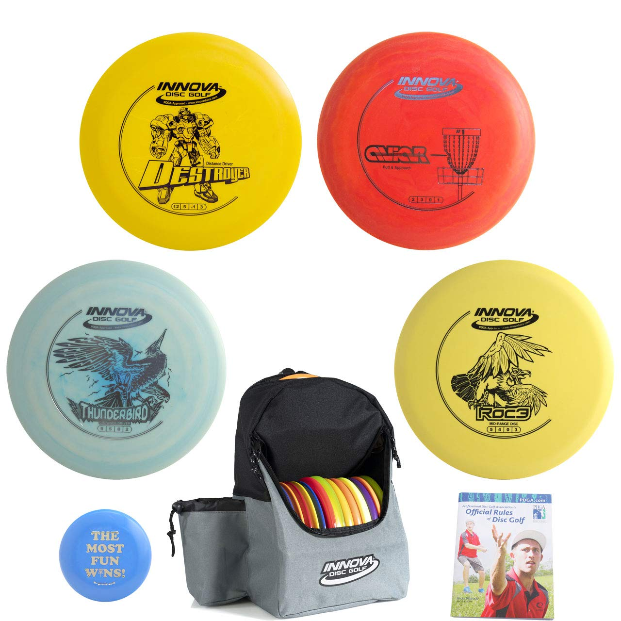 Innova Disc Golf Complete Advanced Set Gift Bundle - Discover Backpack Bag, 2 Drivers, Mid-Range, Putter + Mini Marker Disc & Rules (7 Items) (Bag: Red/Gray) by Innova Disc Golf