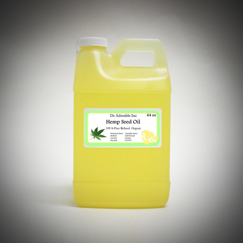 Refinado de aceite de semillas de cáñamo puro, orgánico, prensado en frío por Dr. Adorable 64oz/2cuartos