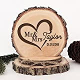 KISKISTONITE Wooden Wedding Cake Toppers Name Custom Sweet Heart Design, Engraved Mr and Mrs Cake Rustic Country Decoration Favors Party Decorating Supplies